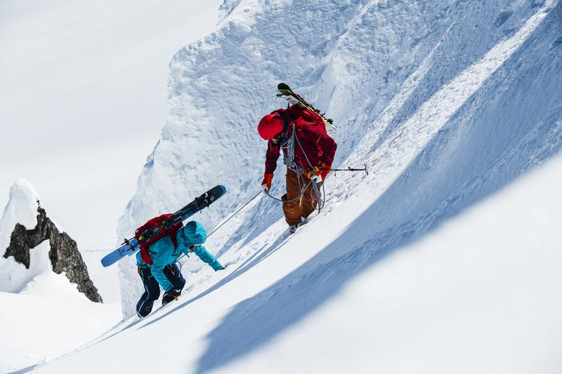 Local mountain guide Michael Brackenhofer and Danielle Willhoeft climbing near Smithers, British Columbia, Canada.
