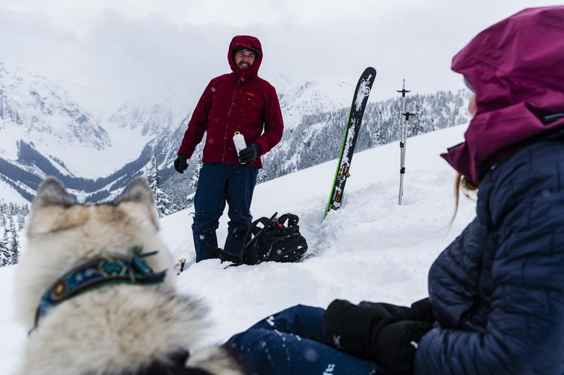 Elle Cochrane and Tristan Tafel ski touring near Terrace, British Columbia, Canada.